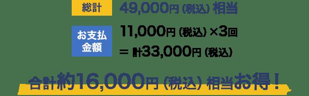 [総計] 49,000円(税込)相当                                             [お支払金額] 11,000円(税込)× 3回 = 計33,000円(税込)                                             合計約16,000円(税込)相当お得!